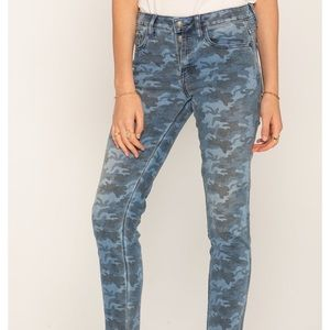 Miss Me Blue Camo Jeans Skinny Ankle Button Fly